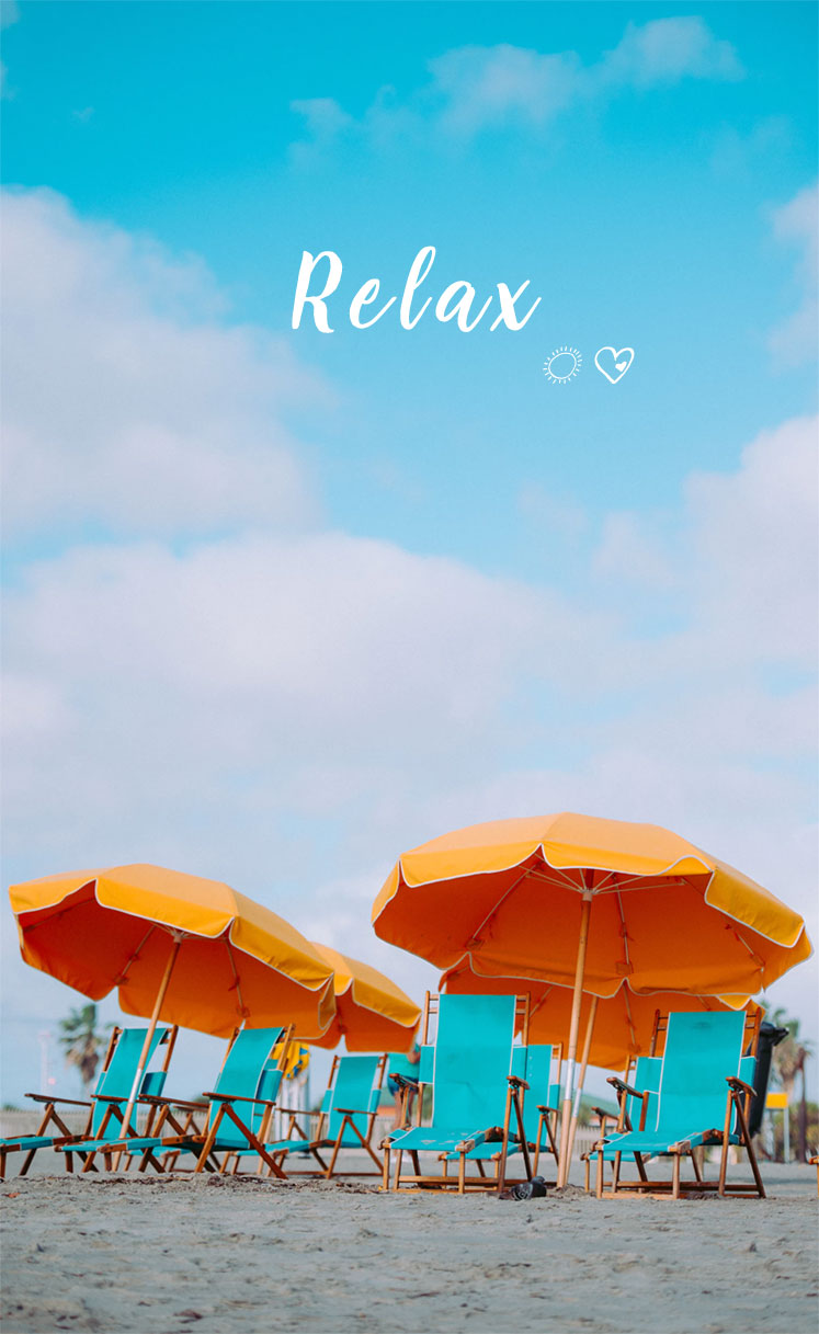 Turquoise Beach Deck Chairs & Mustard Parasols – Beach iPhone wallpaper