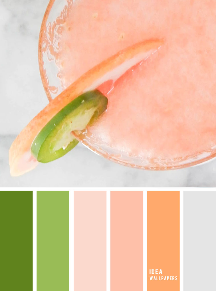 Peach + green + grey color inspiration