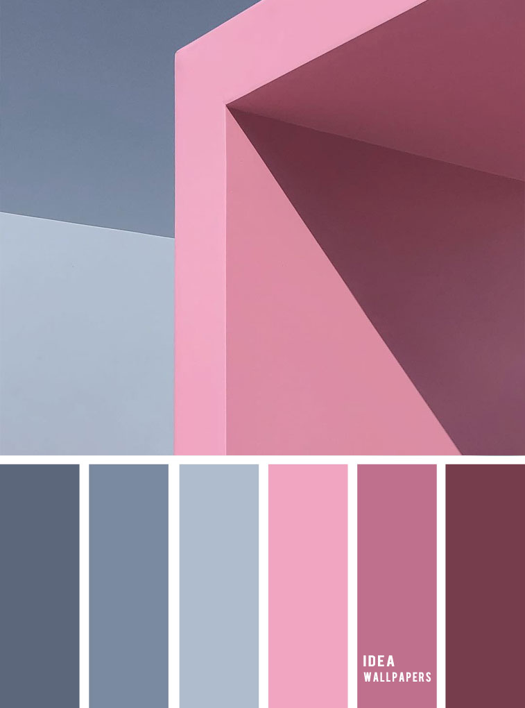 19 The perfect pink color combinations { Pink hues + Blue Grey }