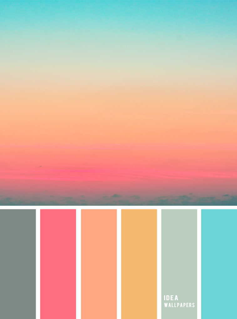 Pink Peach Blue sky inspired color palette, peach color ...