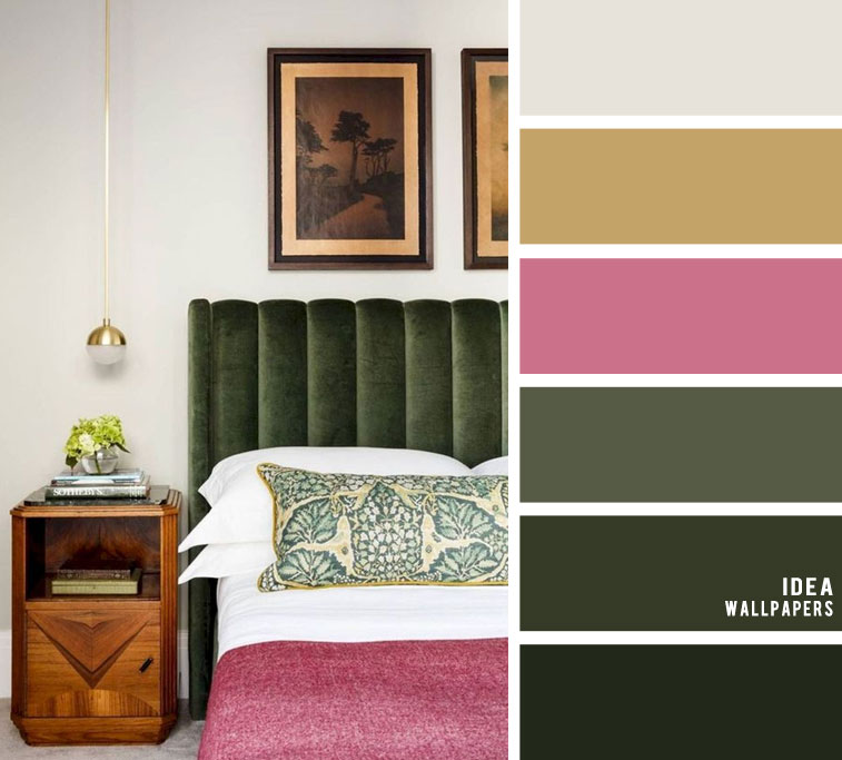 25 Best Color Schemes for Your Bedroom { Dark green + light grey with dark pink accents }