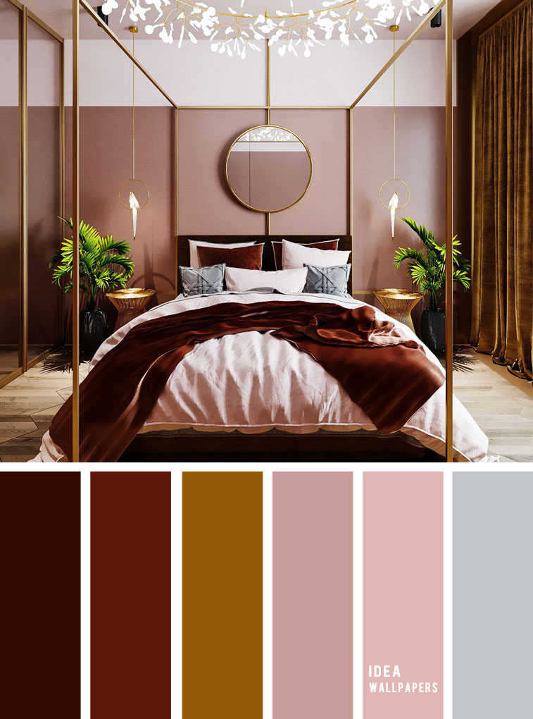 25 Best Color Schemes for Your Bedroom { Burgundy + Dark Gold Mustard + Blush Mauve }