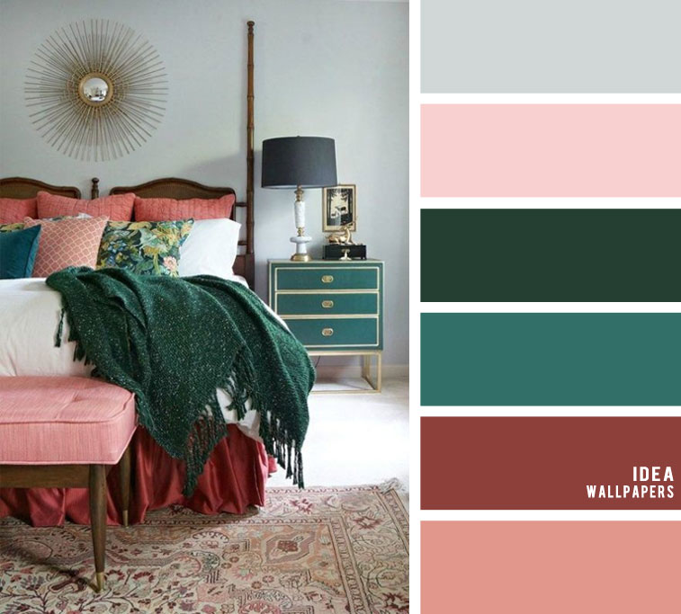 25 Best Color Schemes for Your Bedroom { Dark Green + Peacock + Wine + Blush }
