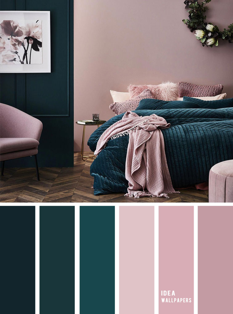 25 Best Color Schemes for Your Bedroom { Deep ocean + Teal + Mauve }