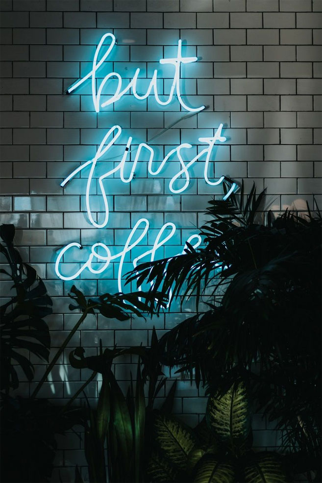 But first coffee – Neon light iPhone wallpaper
