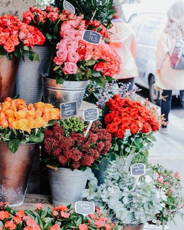 Beautiful bright flowers in rustic buckets
