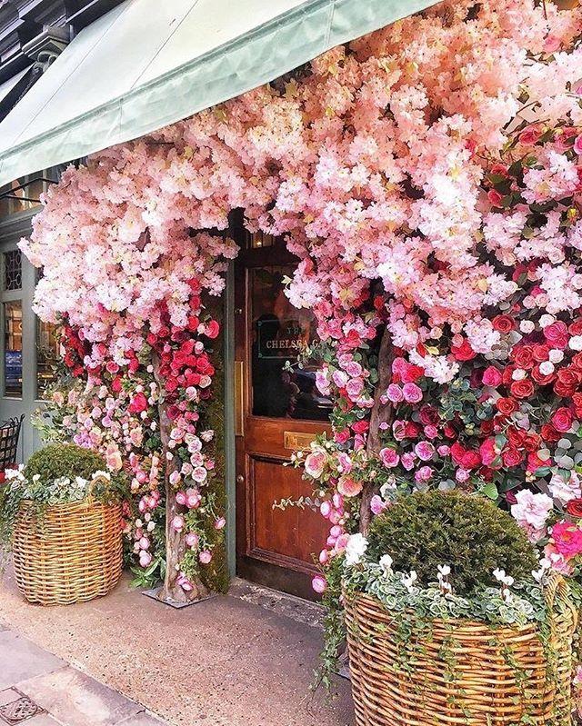 Pretty pink floral doorway arch