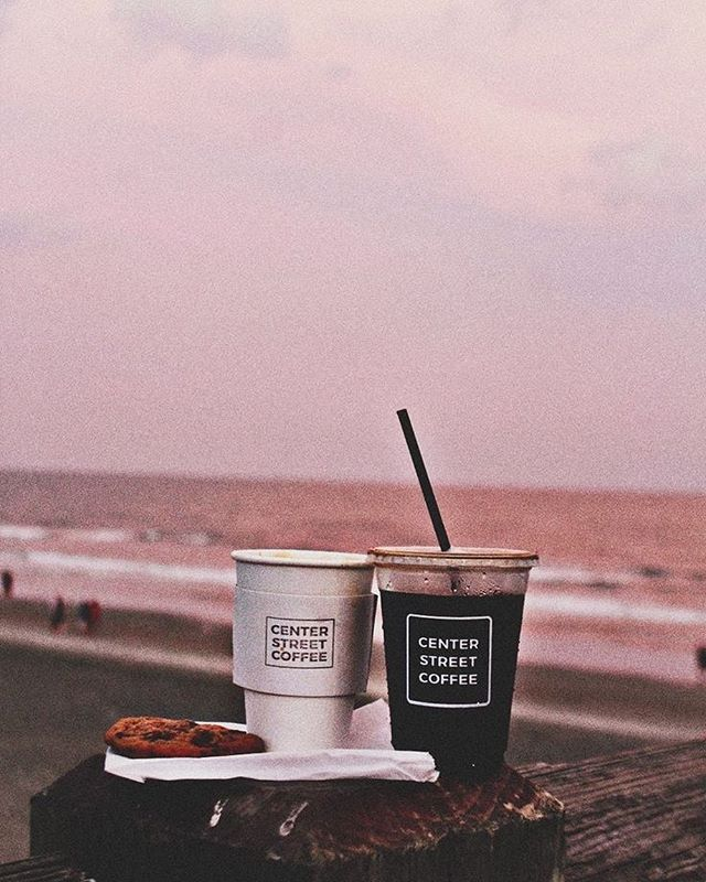 Beach, coffee iPhone wallpaper