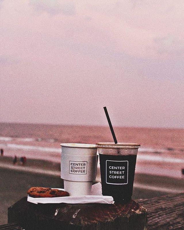 Beach, coffee iPhone wallpaper