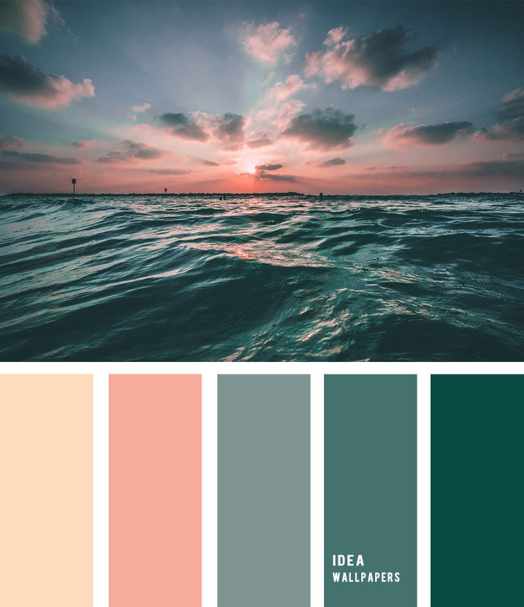 Peach sky and deep green ocean inspired 19052215