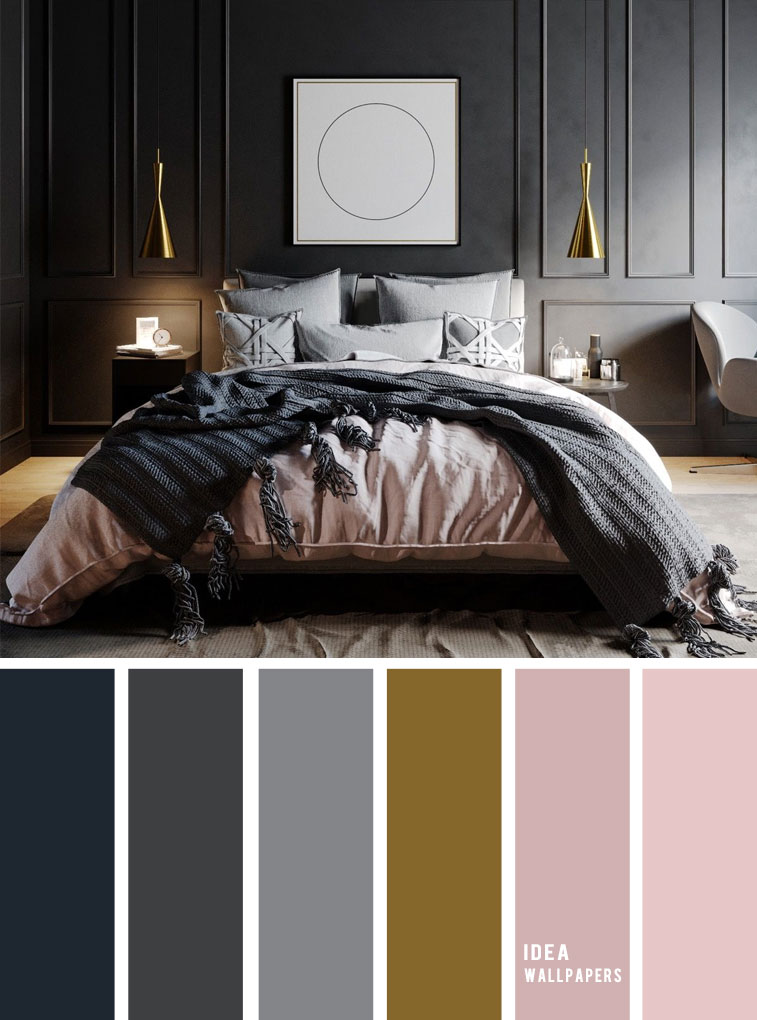 25 Best Color Schemes for Your Bedroom { Dark Grey + Mauve }