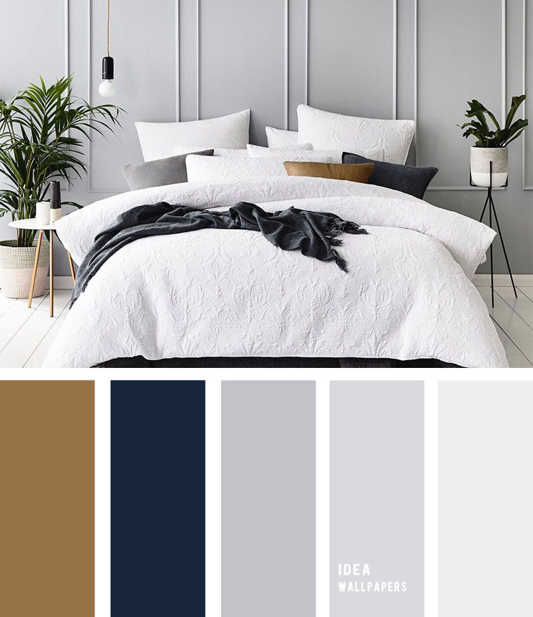 25 Best Color Schemes for Your Bedroom { Navy Blue and Grey + Hint of Gold }