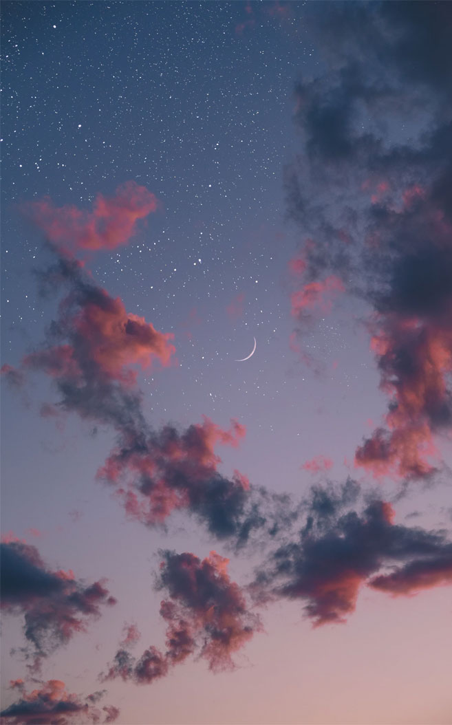Beautiful sky full of stars and the moon
