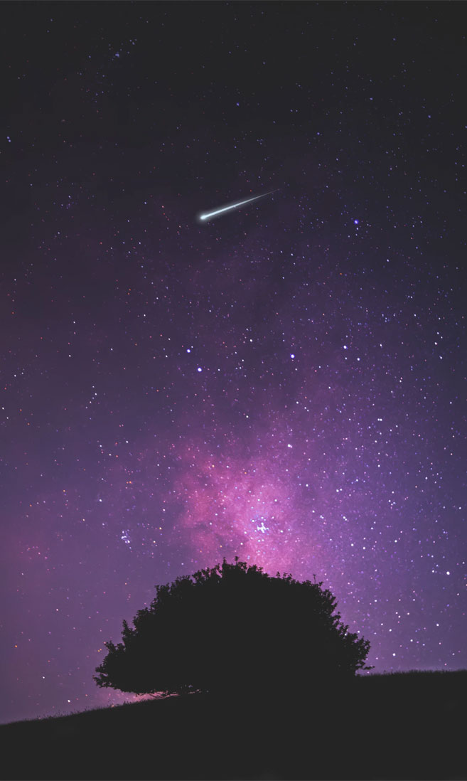 Beautiful night sky with shooting star