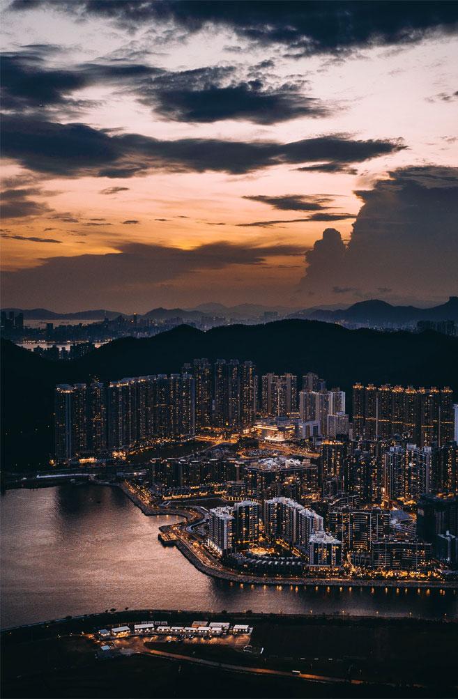 Evening sky and beautiful city lights