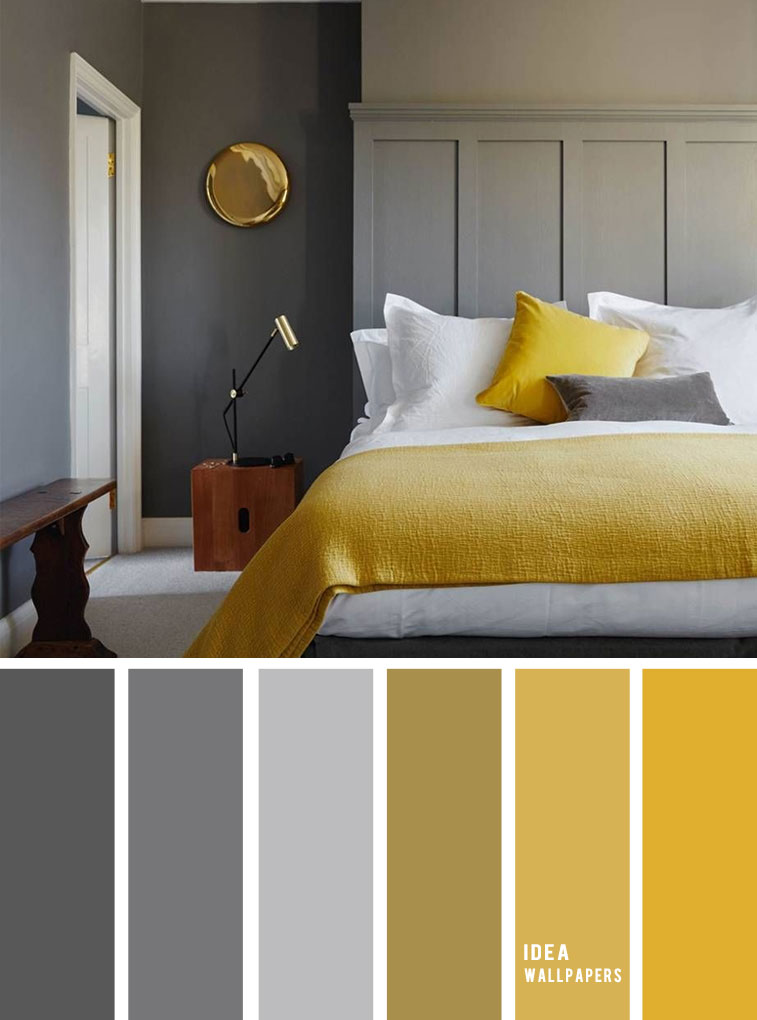 25 Best Color Schemes for Your Bedroom { Blue Grey + Mustard }