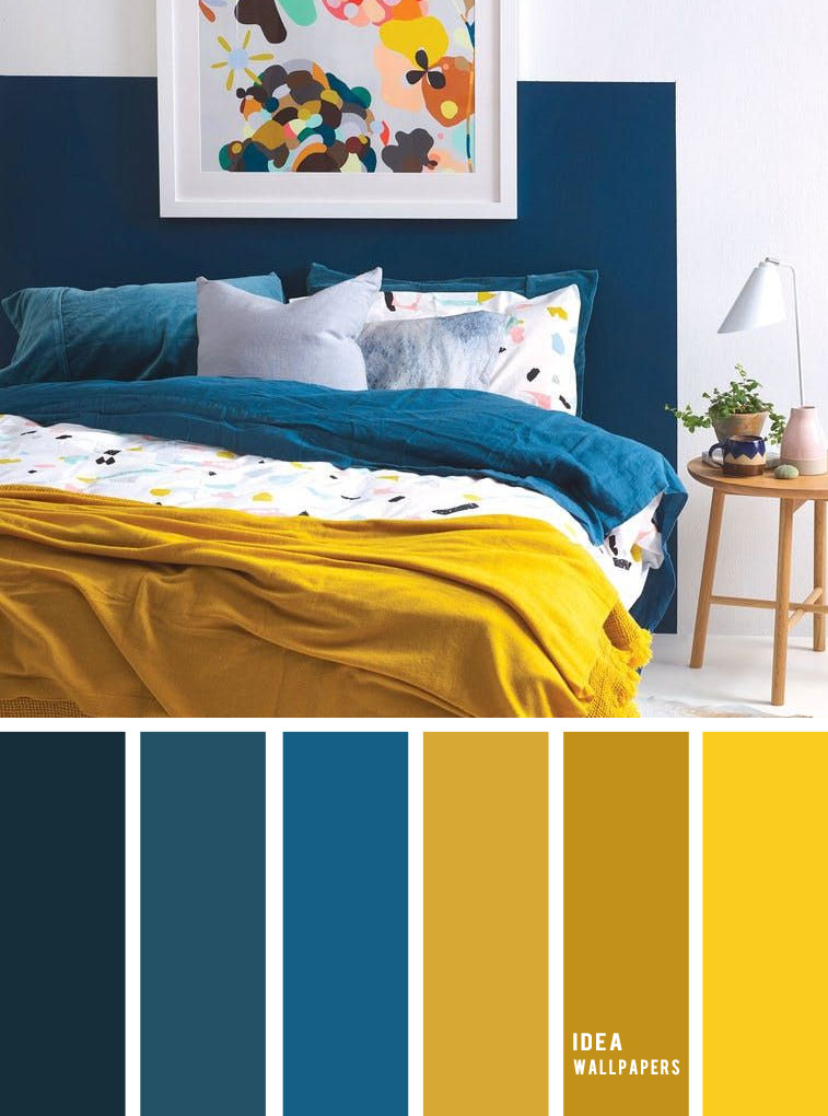 Teal And Yellow Dorm Room