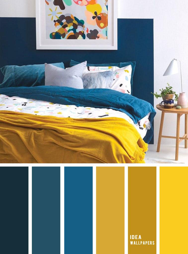 25 Best Color Schemes for Your Bedroom { Blue + Mustard }