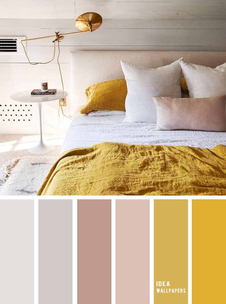 25 Best Color Schemes for Your Bedroom { Light Grey + Mustard }