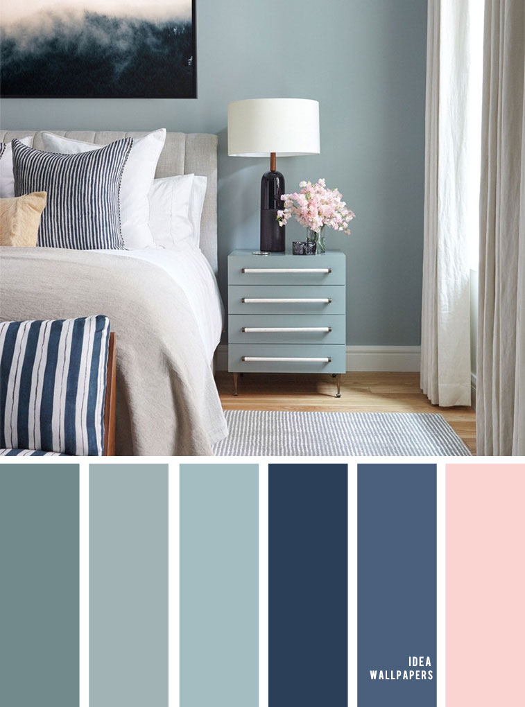Beautiful Color Schemes For Your Bedroom { Sage + Navy Blue & Blush Accents }