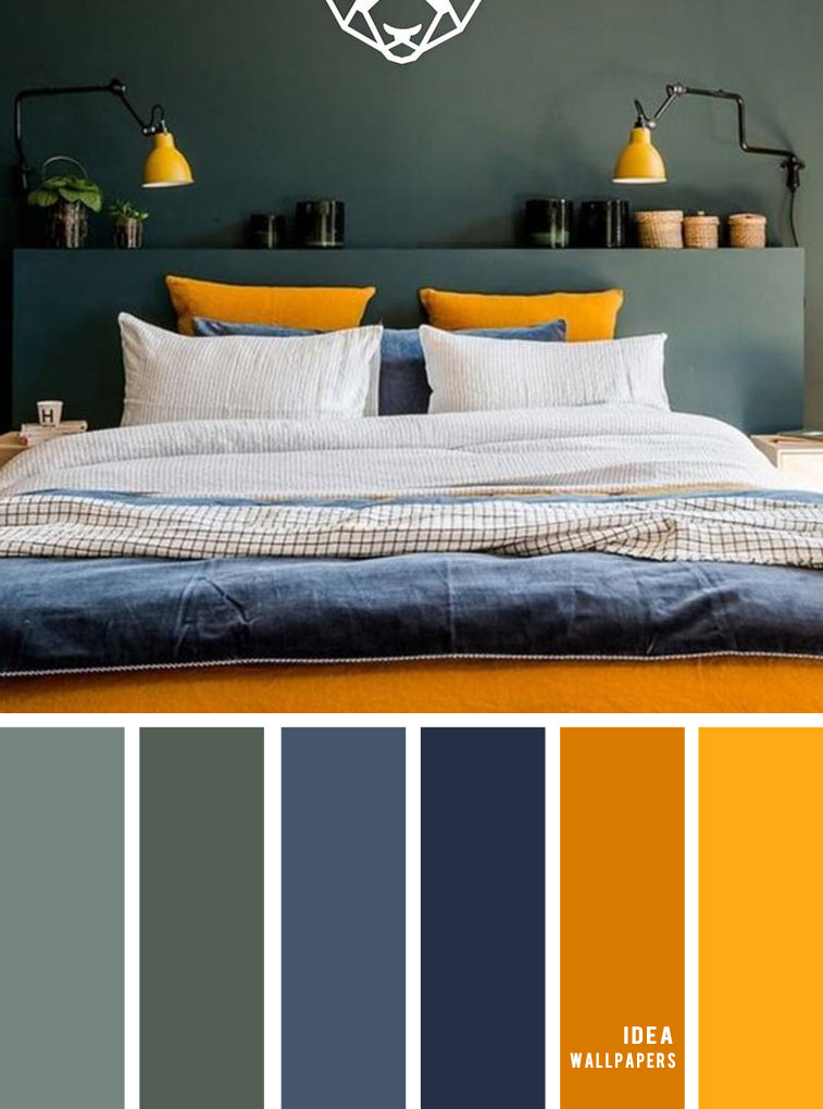 25 Best Color Schemes for Your Bedroom { Green + Dark Blue + Mustard Yellow }