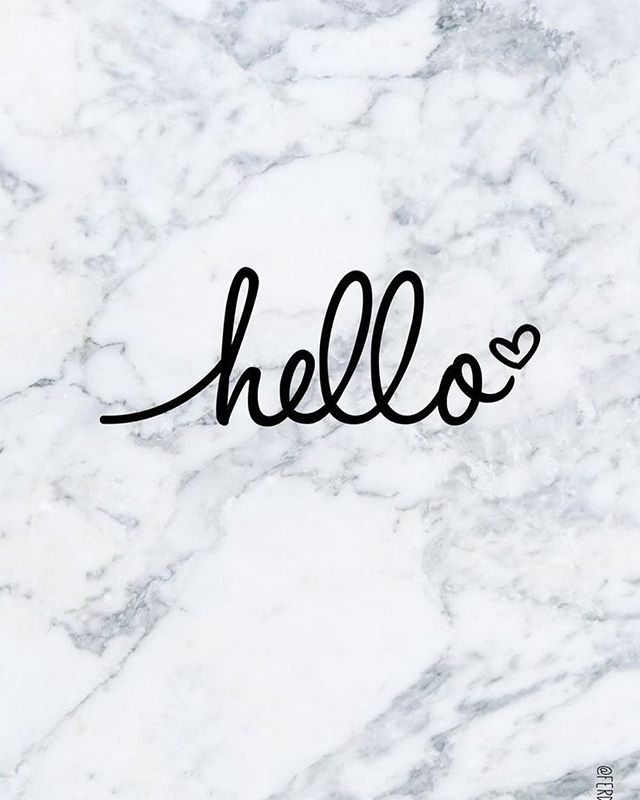 Hello on white marble