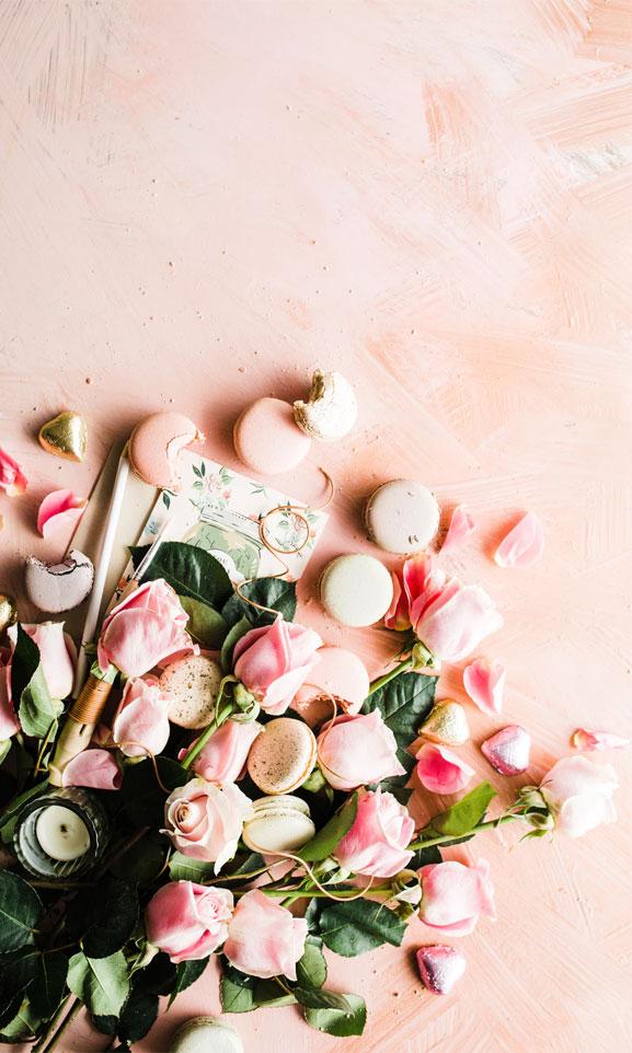 Blushing Roses and macarons
