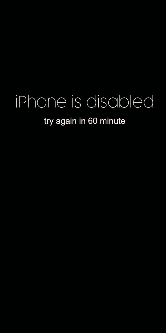 iPhone is disabled – try again in 60 minute