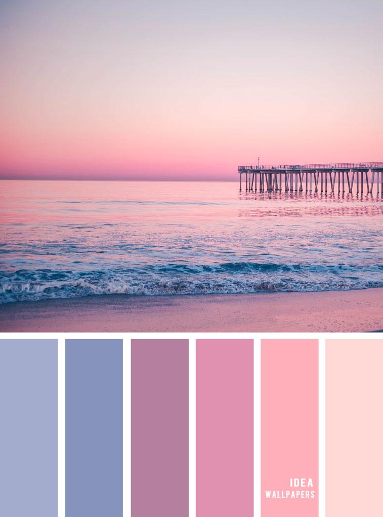 Color Inspiration : Blue mauve and peach color palette