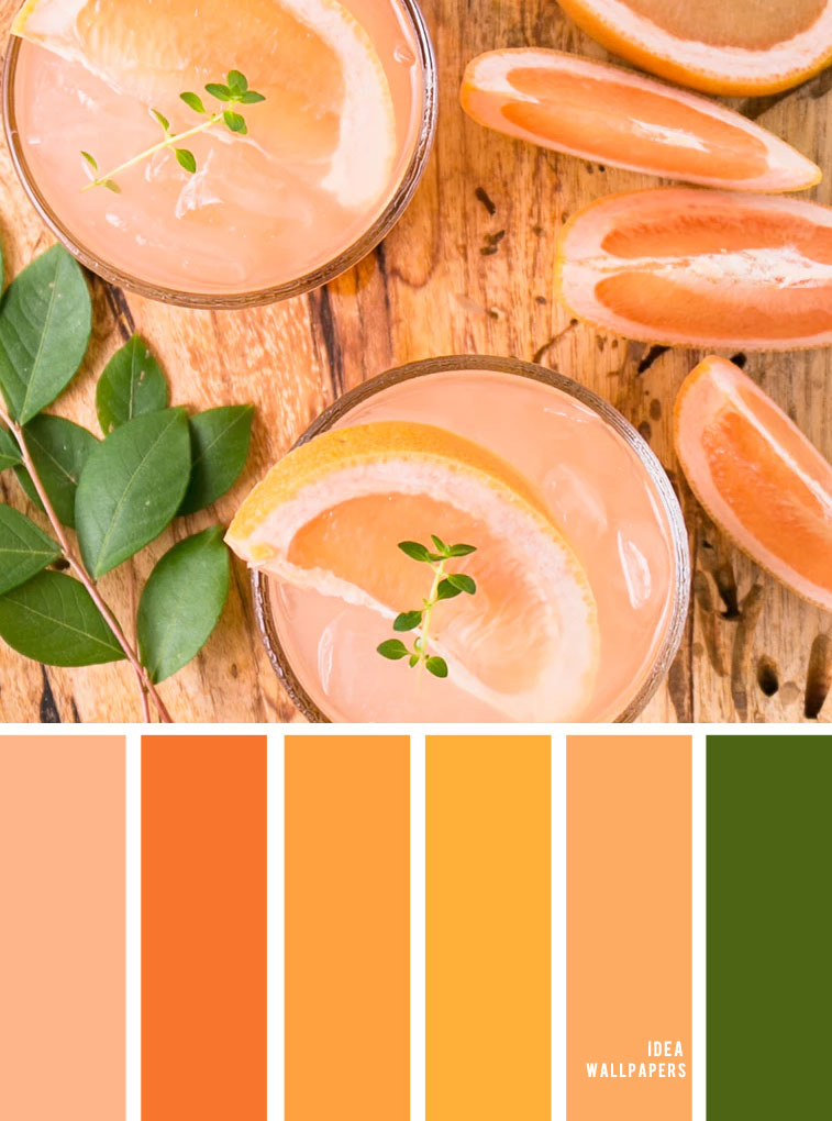 Green + orange + peach + yellow color combinations – summer color palette