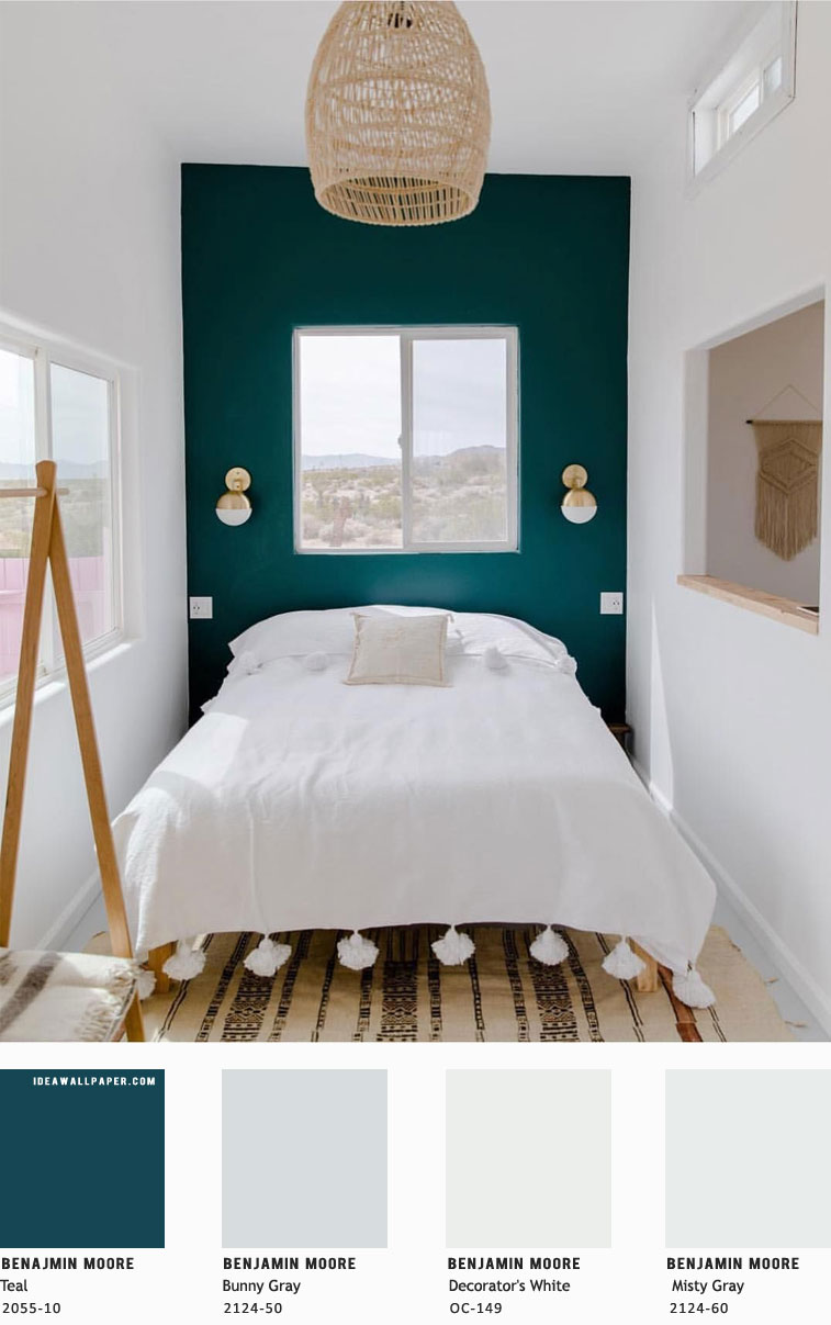 Beautiful bedroom color scheme { Teal + Misty Gray – Benjamin Moore }