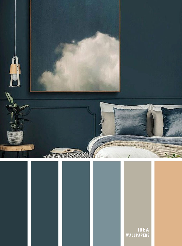 25 Best Color Schemes for Your Bedroom { Dark Blue with Sand Accents }