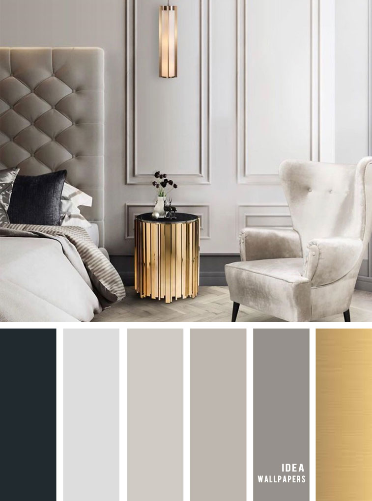 11 Gorgeous Bedroom In Grey Hues with gold accents
