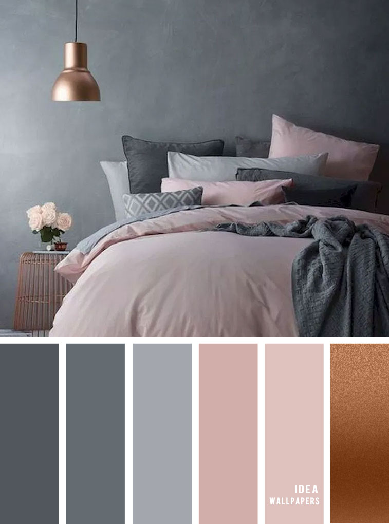 25 Best Color Schemes for Your Bedroom { Grey and Pink Mauve + Copper Accents }