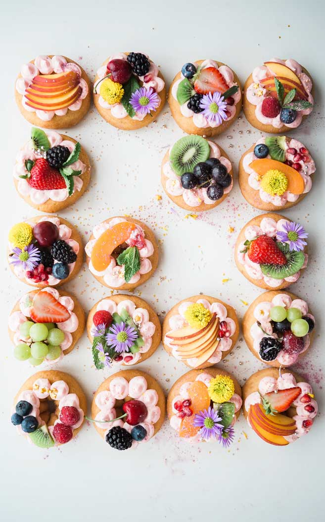 Donut topped with lovely fruits