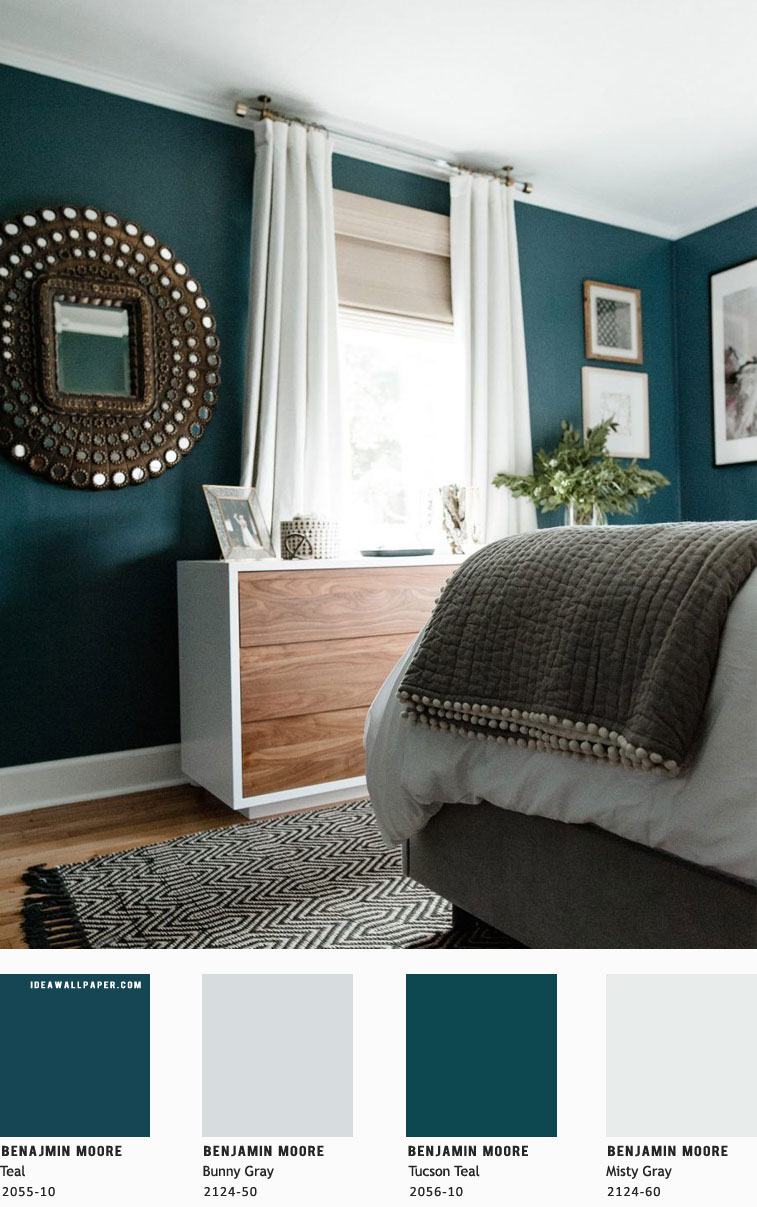 Beautiful bedroom color scheme { Teal + Grey – Benjamin Moore }