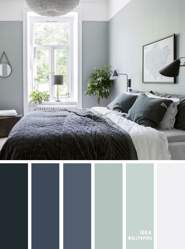 25 Best Color Schemes for Your Bedroom { Sage and Dark blue Bedroom }