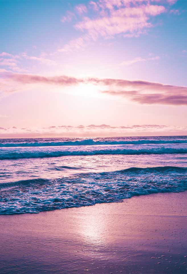 Beach in color of mauve hue