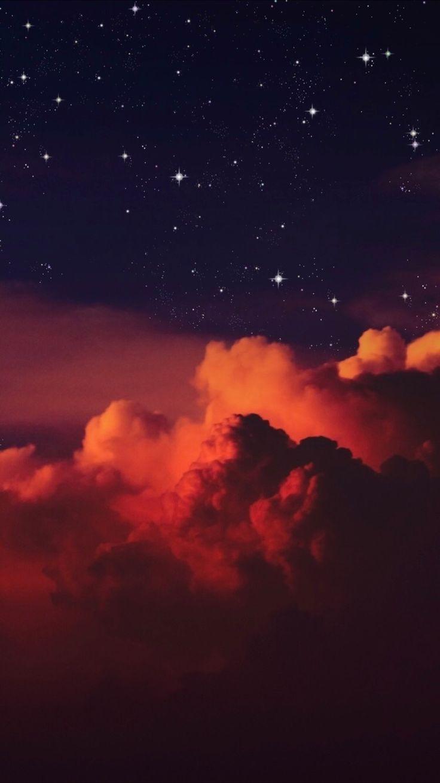 15 Beautiful wonder of the sky for iPhone wallpaper – Orange sky full of stars