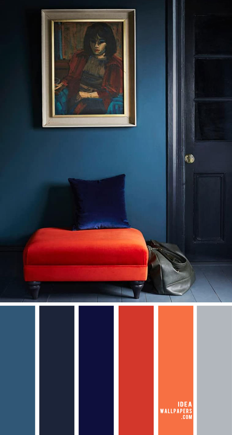 Dark Blue, Cobalt Blue and Dark Coral Living Room Designs