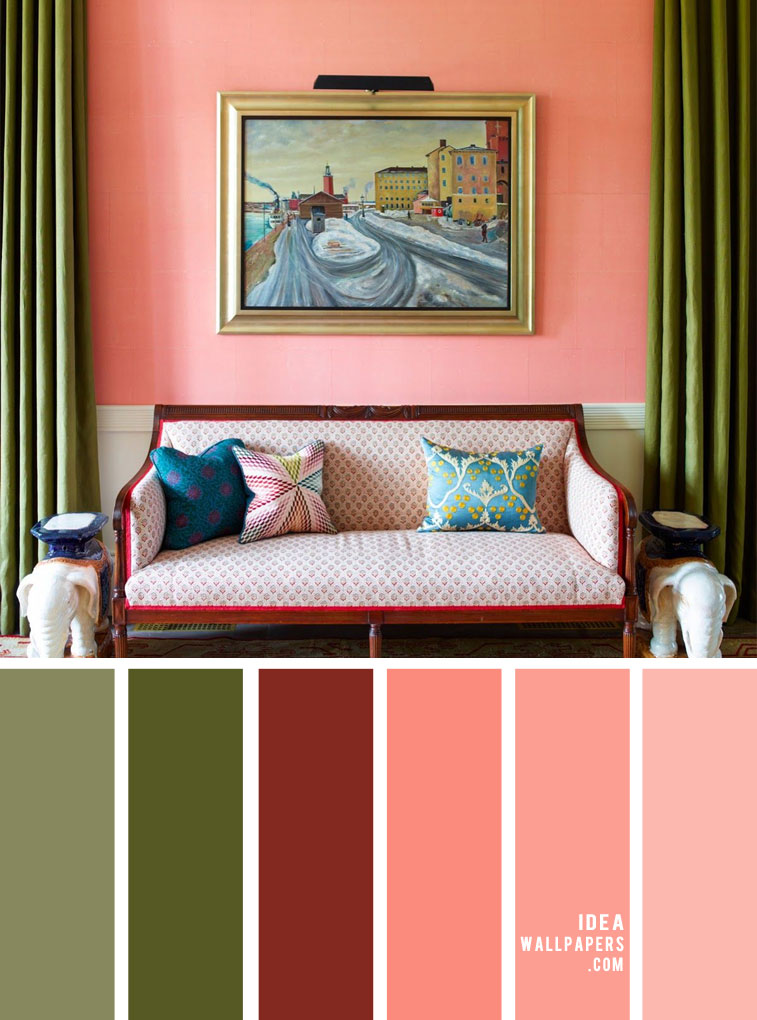 Green and Salmon Color Palette for Living Room