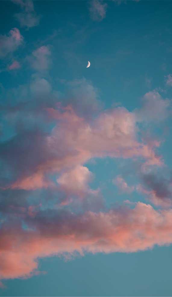 Blue sky with peach effect cloud