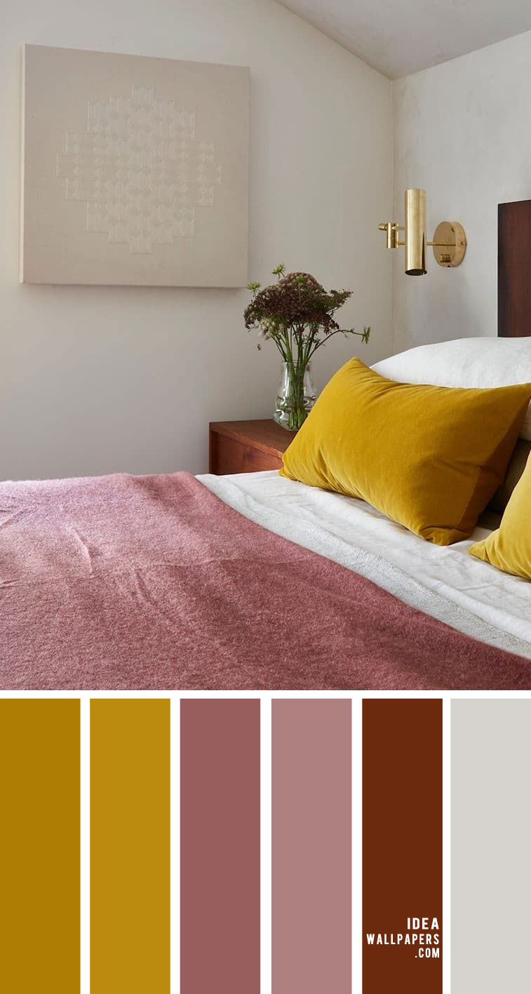 25 Best Color Schemes For Your Bedroom { Mustard and Mauve Color Combos }