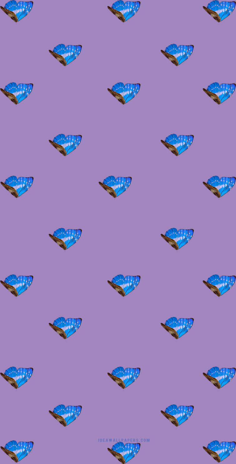 Blue butterflies on purple background