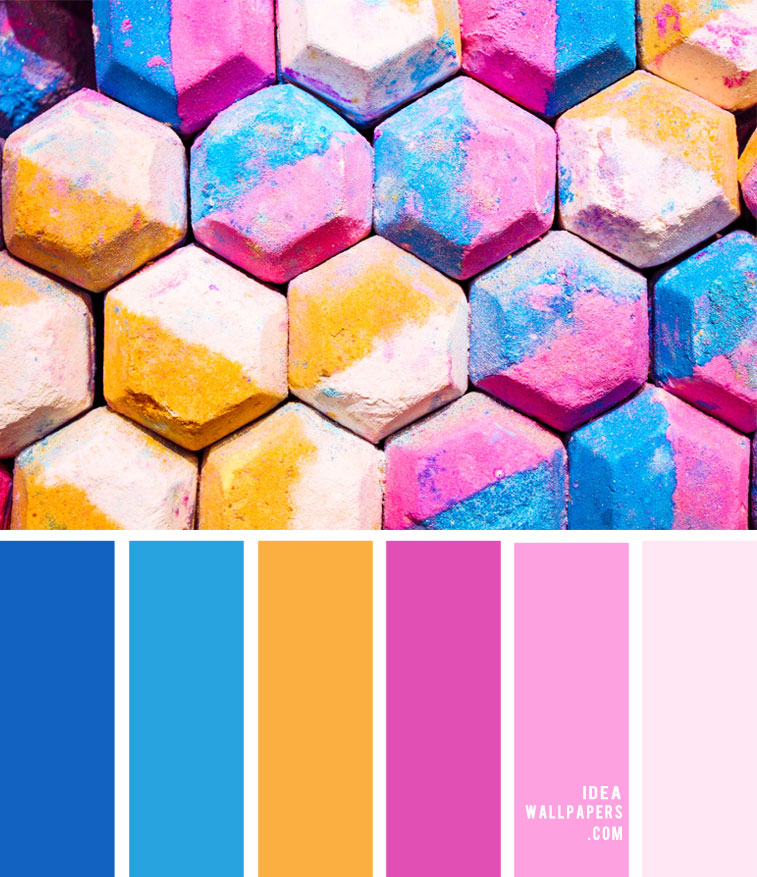 Color Palette 148 { Blue , Pink and Yellow Color Scheme }