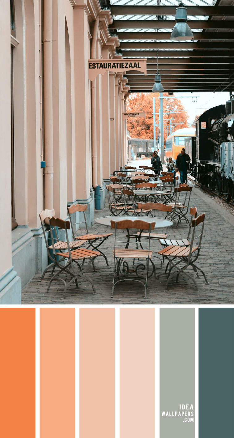 Orange , peach and sage green color scheme –  Color Palette 162