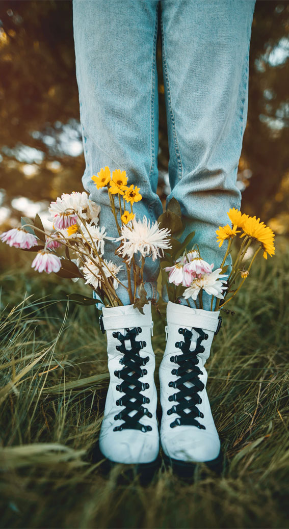 Flowers in her boots